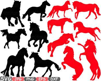 Horses Woodland Silhouette school Clipart zoo circus farm cowboy wood wild 693s
