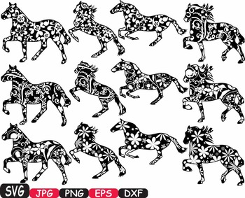 Horses Woodland Silhouette school Clipart zoo circus flower wood wild 410s