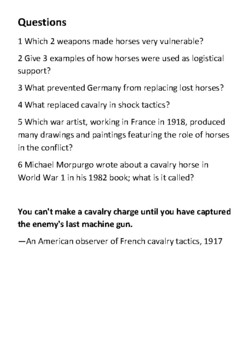 Horses in World War I Handout