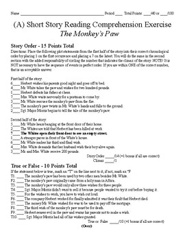 Short Story Test - The Monkey's Paw
