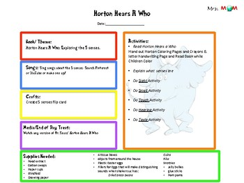 Horton Hears a Who 5 Senses Unit Study