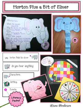 Horton Plus A Bit Of Elmer Literacy Packet With Writing Prompt Crafts