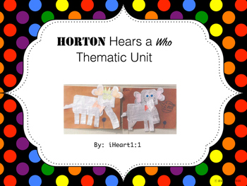 """Horton Hears a Who"" Thematic Unit (QR code Word-Wall Cards)"
