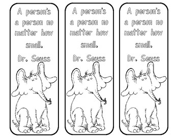 Horton bookmarks to color