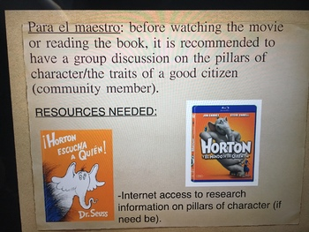 Horton hears a Who/Pillars of character presentation
