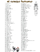 Hospital, Body - el Hospital, el Cuerpo Spanish Vocab Pages