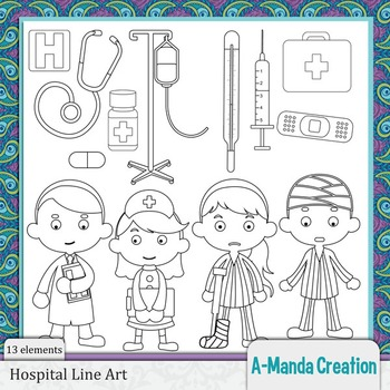 Hospital and Boo Boo Line Art and Digital Stamps