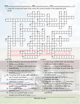 Hospitals-Injuries Crossword Puzzle