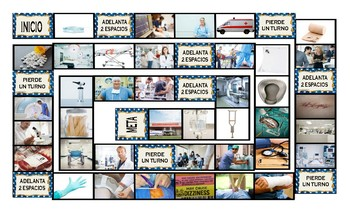 Hospitals and Injuries Spanish Legal Size Photo Board Game