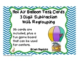 Hot Air Balloon 3 Digit Subtracting Regrouping Task Cards