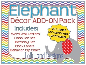 "Elephant Class Decor ""Add-On"" Pack"
