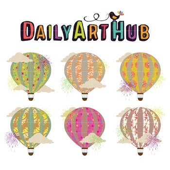 Hot Air Balloon And Fireworks Clip Art - Great for Art Class Projects!