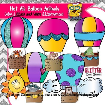 Hot Air Balloon Animals Clipart