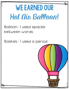 Hot Air Balloon Back to School Writing Craft: A Writing Conventions Assessment