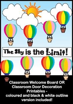 Hot Air Balloon - Bulletin Board Set / Welcome Door Decoration - Printables