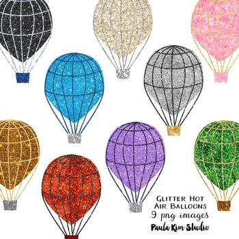 Glitter Hot Air Balloon Clip Art
