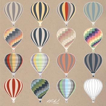 Hot Air Balloon Clip Art  - Vintage Color Hot Air Balloons
