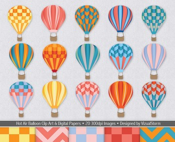 Hot Air Balloon Clip Art and Digital Paper Bundle For Summer or Back To School
