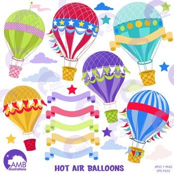 Hot Air Balloon Clipart, Birthday Balloons Clipart, AMB-1248
