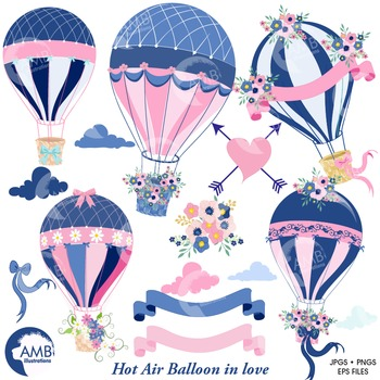 Hot Air Balloon Clipart, Pink Balloons, Romantic clipart,