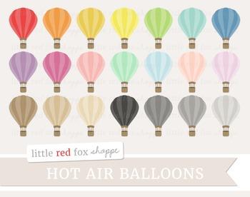Hot Air Balloon Clipart; Travel, Vintage