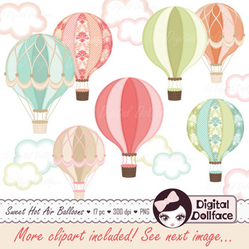 Hot Air Balloon Clipart / Up, Up, and Away Clip Art / Digital Graphics
