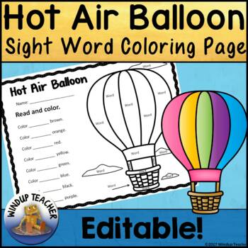 Hot Air Balloon Color the Word Activity Sheet *Editable*