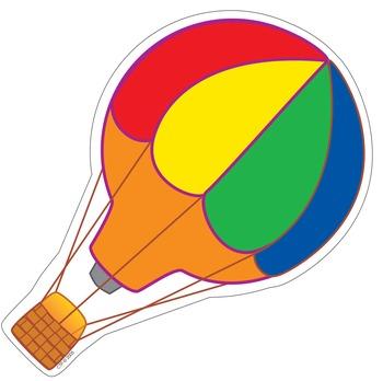 Hot Air Balloon Cut Out Decor - Stick Kids Classroom Collection