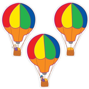 Hot Air Balloon Cut Out Decor - Stick Kids Classroom Collection