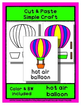 Hot Air Balloon - Cut & Paste Craft  Super Easy perfect for Pre-K & Kindergarten