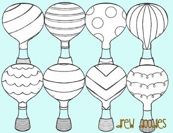 Hot Air Balloon Digital Clip Art- Black Line Version