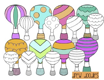 Hot Air Balloon Digital Clip Art Set- Color and Black Line Combo