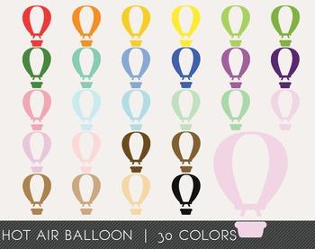 Hot Air Balloon Digital Clipart, Hot Air Balloon Graphics,