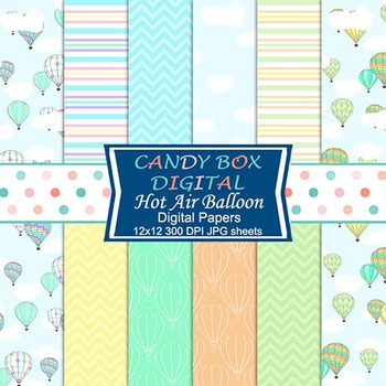 Hot Air Balloon Digital Papers for Scrapbooks, Newsletters