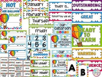 Hot Air Balloon EDITABLE Classroom Theme Decor
