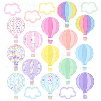 Hot Air Balloon Graphics, Pastel Rainbow Clip Art