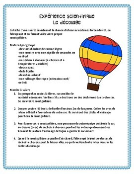 Hot Air Balloon Lab - French