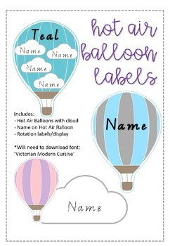 EDITABLE Hot Air Balloon Themed Labels and Rotations Display