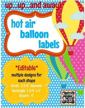 Hot Air Balloon Labels *editable*