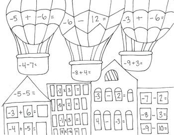 Hot Air Balloon Math Coloring Page