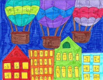 Hot Air Balloon Math Coloring Page