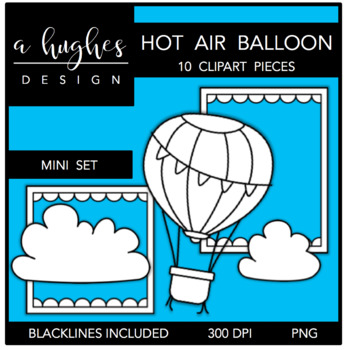 Hot Air Balloon Mini Clipart Bundle {A Hughes Design}