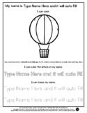 Hot Air Balloon - Name Tracing & Coloring Editable Sheet #