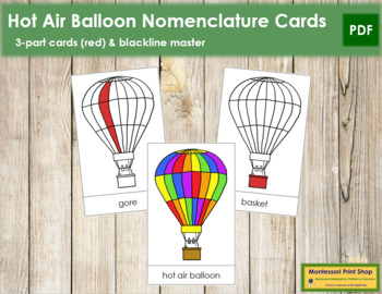Hot Air Balloon Nomenclature Cards - Red
