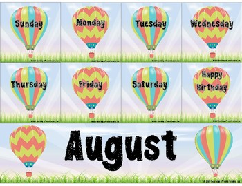 Hot Air Balloon Theme Calendar