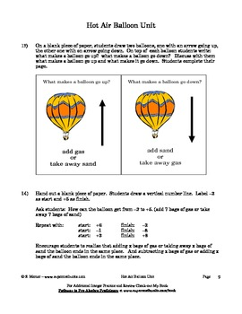 Hot Air Balloon Unit - Conceptual understanding of Integers