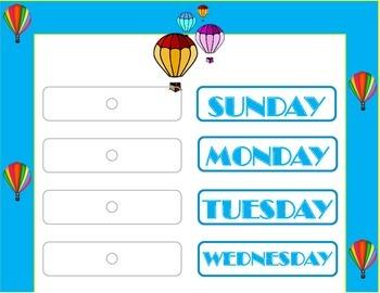 Hot Air Balloon Weekday Chart! Hot Air Balloon Bulletin Bo