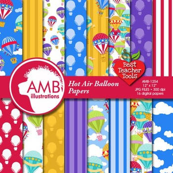 Hot Air Balloon digital papers, Digital scrapbooking papers, AMB-1254