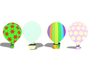 Hot Air Balloons 3D Clip Art