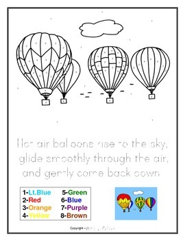 FREE DOWNLOAD Hot Air Balloons Drawing - Color by Numbers and Writing Activity